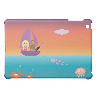 Cute Girl & Pets At Sea In A Sailing Boat Pretty iPad Mini Cases