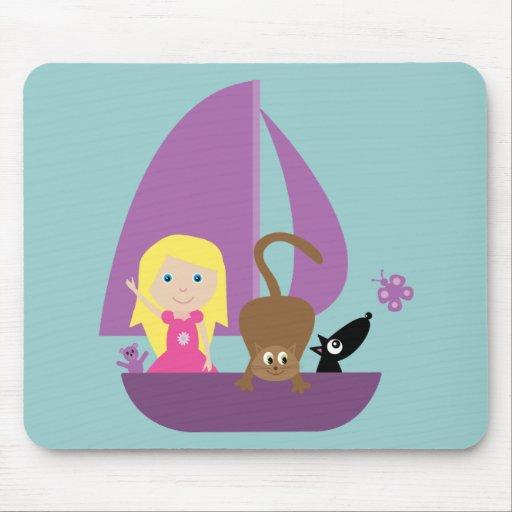 Cute girl & pets in a boat mousepad