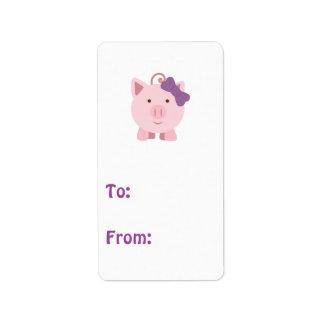 Cute Girl Pig Address Label