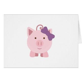 Cute Girl Pig Card