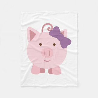 Cute Girl Pig Fleece Blanket