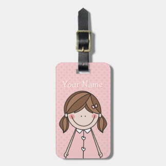 Cute Girl (pigtails) pink Luggage Tag