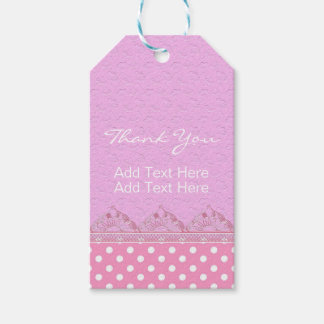 Cute Girl Pink Lace Polka Dot Birthday Baby Shower Gift Tags