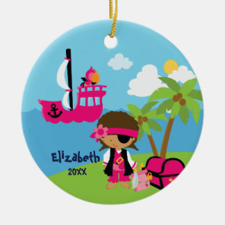 Cute Girl Pirate Christmas Ornament