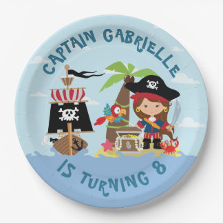 Cute Girl Pirate Paper Plate