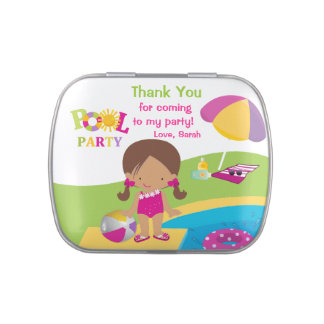 Cute Girl Pool Party Birthday Candy Tin