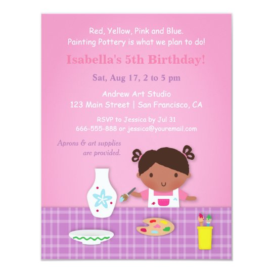 Cute Girl Pottery Painting Art Birthday Party Card