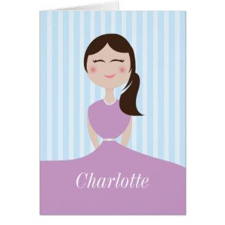 Cute Girl Purple Dress Custom Greeting Card