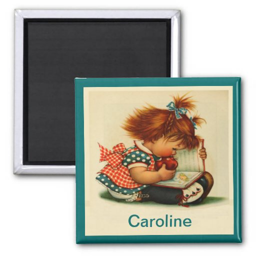 Cute Girl Reading a Book with Name Magnet