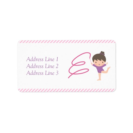 Cute Girl Ribbon Gymnastics Kids Birthday Party Address Label