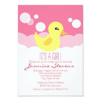 Cute Girl Rubber Ducky Baby Shower Card