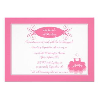 Cute girl s ballerina birthday party invitation
