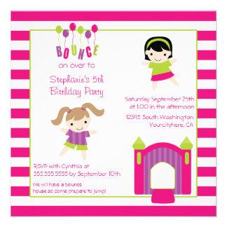 Cute girl s bounce house party birthday invitation