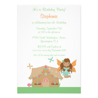Cute girl s flying fairy birthday party invitation