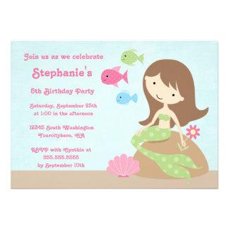 Cute girl s mermaid birthday party invitation