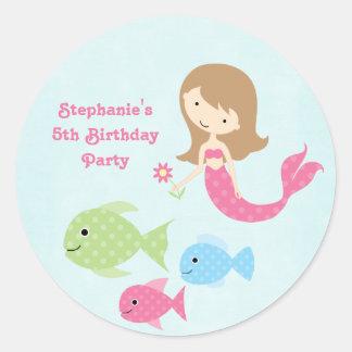 Cute girl s mermaids birthday party stickers