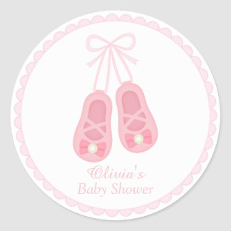 Cute Girl Shoes Ballerina Baby Shower Labels Round Sticker