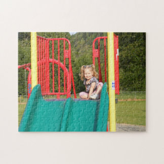 Cute Girl Sitting on Top of Slide Puzzle