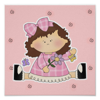Cute Girl Sitting with Flower and Butterflies Poster