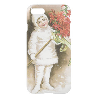 Cute Girl Snow Poinsettia Yellow Ribbon iPhone 7 Case