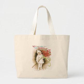 Cute Girl Snow Poinsettia Yellow Ribbon Jumbo Tote Bag