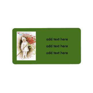 Cute Girl Snow Poinsettia Yellow Ribbon Label