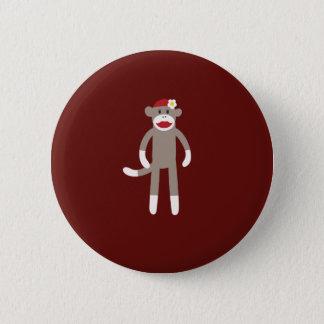 Cute Girl Sock Monkey on Red 6 Cm Round Badge