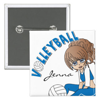 Cute Girl Volleyball Player in Blue 15 Cm Square Badge