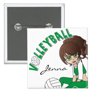 Cute Girl Volleyball Player in Green 15 Cm Square Badge