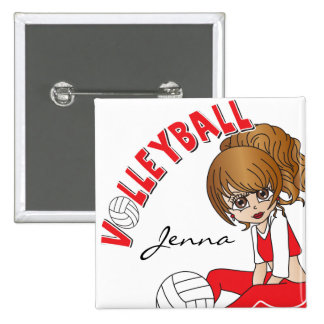 Cute Girl Volleyball Player in Red 15 Cm Square Badge