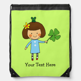 cute girl with a four leaf clover - good luck drawstring bags