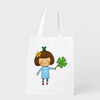 cute girl with a four leaf clover - good luck grocery bags