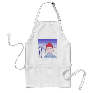 Cute Girl with Big Green Eyes on Snowy Background Aprons
