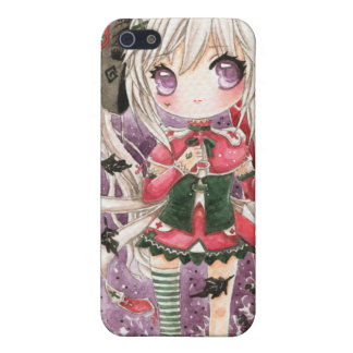 Cute girl with crow iPhone 5/5S cases
