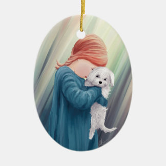 Cute Girl with Dog Christmas Ornament