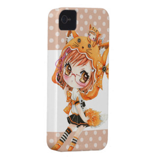 Cute girl with glasses in kawaii fox hoodie iPhone 4 covers