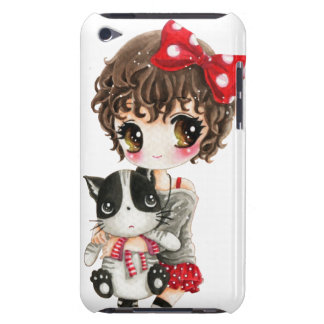 Cute girl with kawaii black cat iPod touch Case-Mate case