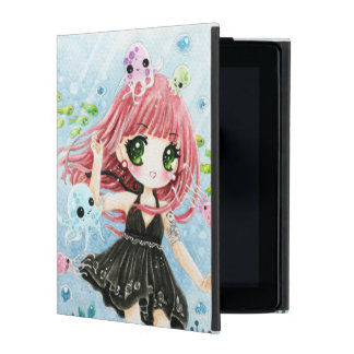 Cute girl with kawaii octopus and fish iPad cover