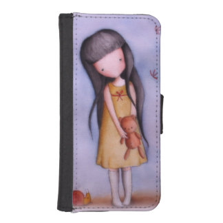 Cute Girl with Teddy Bear iPhone 5/5s Wallet Case