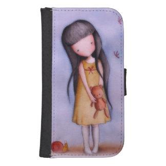 Cute Girl with Teddy Bear Samsung S4 Wallet Case