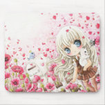 Cute girl with white cat on pink flowers field
