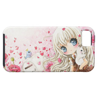 Cute girl with white cat on pink flowers field iPhone 5 cover