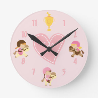 Cute Girls and Ponies with English Tack Pink Horse Round Clock