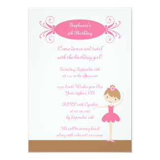 Cute girl's ballerina birthday party invitation