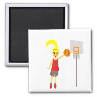 Cute Girls Basketball Magnet