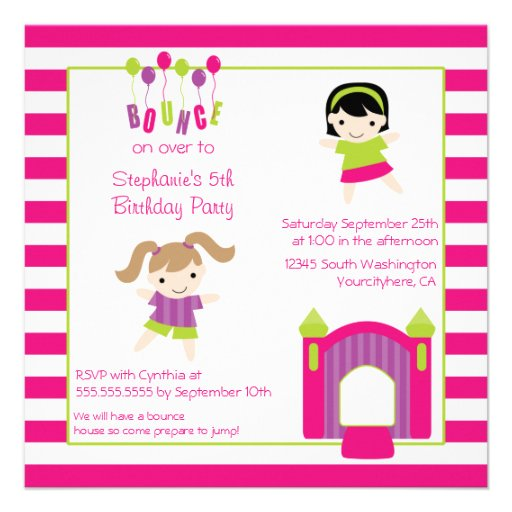 Cute girl's bounce house party birthday invitation