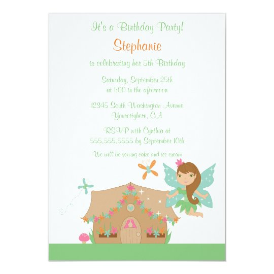 Cute girl's flying fairy birthday party invitation