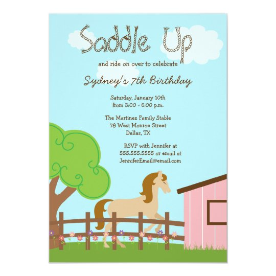 Cute girls horse birthday party invitation