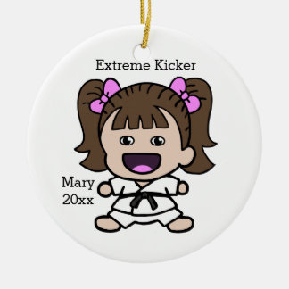 Cute Girl's Karate Christmas Ornament