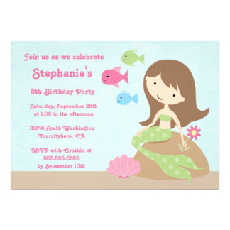 Cute girl's mermaid birthday party invitation